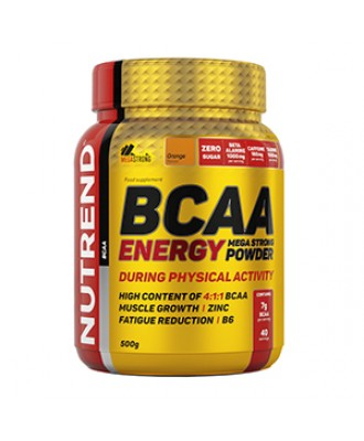 BCAA  4:1:1 Energy Mega Strong Powder, NUTREND, малина, 500 г