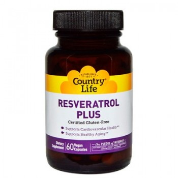 Био-активная добавка Country Life Resveratrol Plus, Gluten Free, 60 caps (Ресвератрол Плюс, Без Глютена)