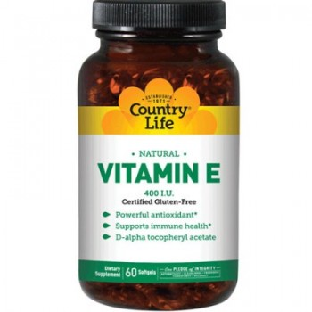 VITAMIN E 400  NATURAL, Country Life, 60 капсул