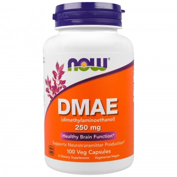 DMAE, Now Foods, 250 mg, 100 caps (DMAE - диметиламиноэтанол, 250 мг, 100 гелевых капсул)